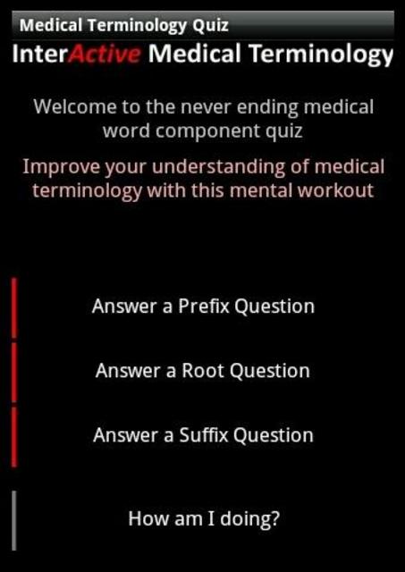 Medical Terminology Quiz screenshot 1