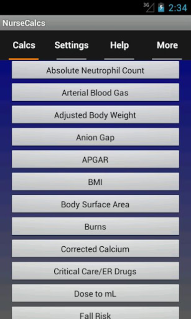 NurseCalcs screenshot 1
