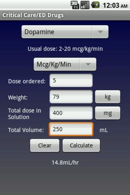NurseCalcs screenshot 3