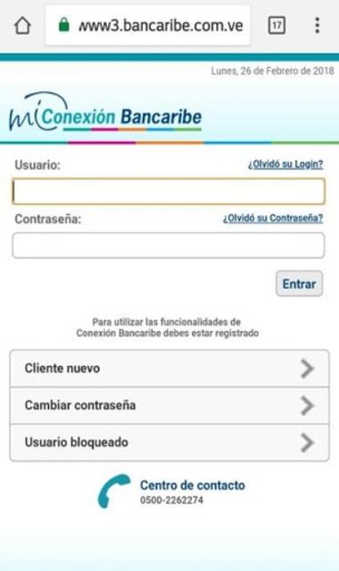 Mi Conexión Bancaribe Móvil screenshot 1