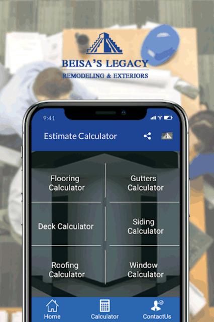 Siding, Roof, Decks & Home renovation Calculator. screenshot 1