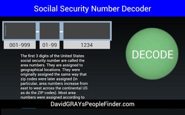 Social Security # Decoder screenshot 1