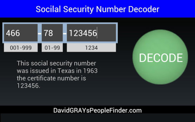 Social Security # Decoder screenshot 6