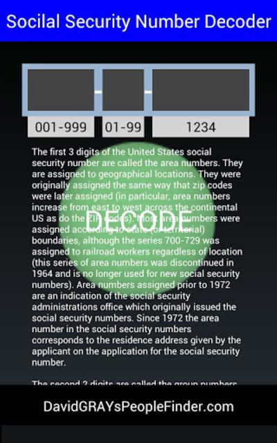 Social Security # Decoder screenshot 7