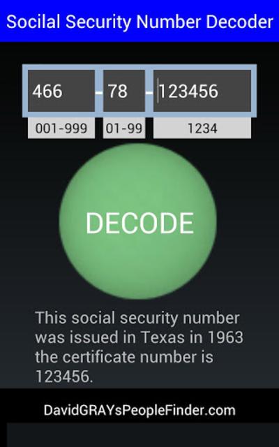 Social Security # Decoder screenshot 8