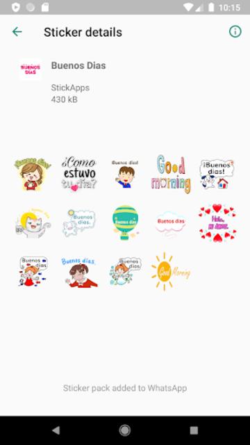 Buenos Dias Buenas Noches Stickers- WAStickerApps screenshot 2