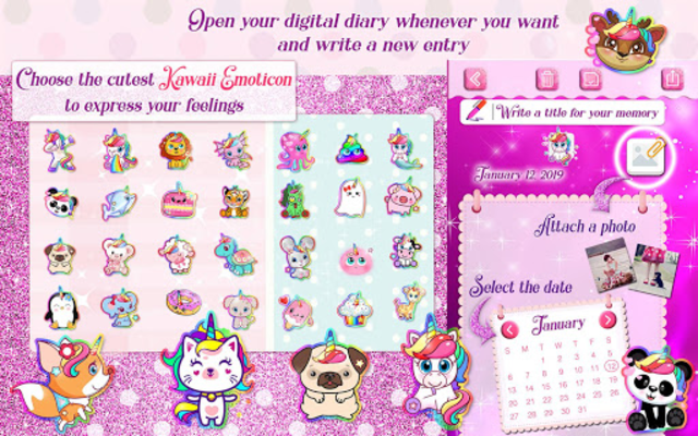 Unicorn Secret Diary with Lock 🦄 Personal Journal screenshot 11