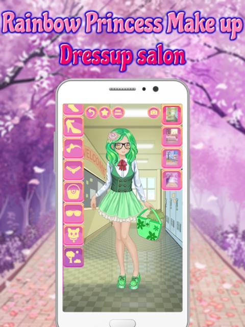 Rainbow Princess Make up Dressup salon: Girls Game screenshot 3