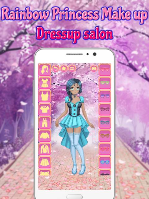 Rainbow Princess Make up Dressup salon: Girls Game screenshot 4