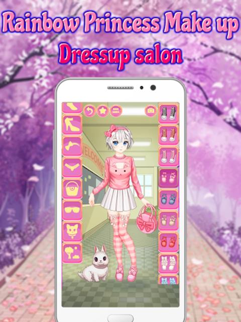 Rainbow Princess Make up Dressup salon: Girls Game screenshot 6
