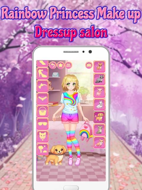 Rainbow Princess Make up Dressup salon: Girls Game screenshot 13