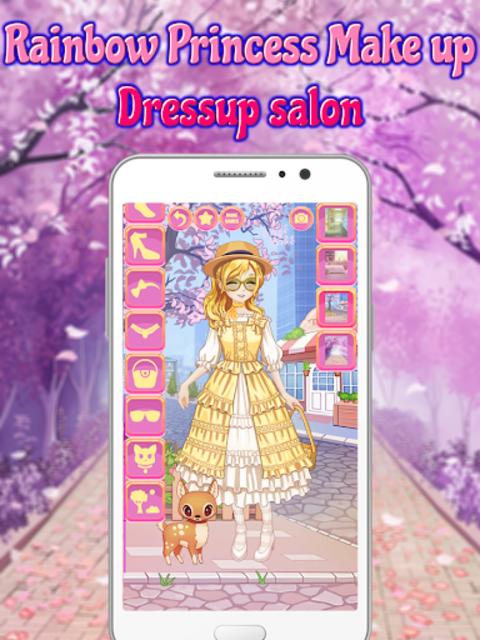 Rainbow Princess Make up Dressup salon: Girls Game screenshot 14