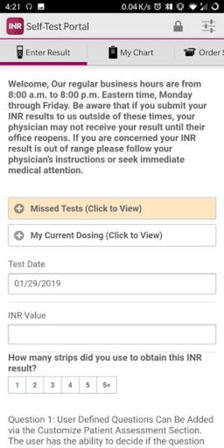 CoagClinic™ Self-Test Portal screenshot 2