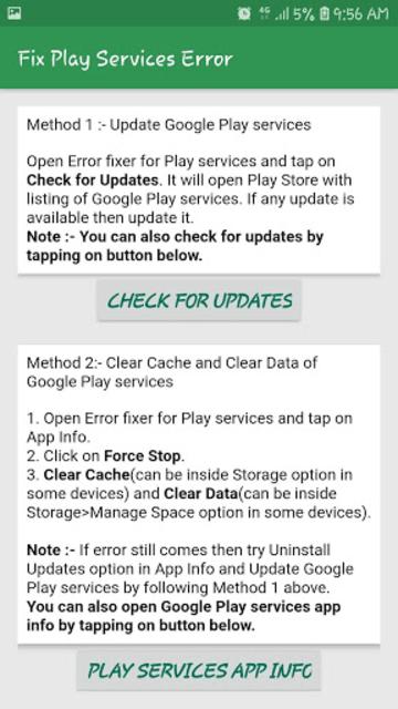 Fix Play Services Error & Update & Help Play Store screenshot 1
