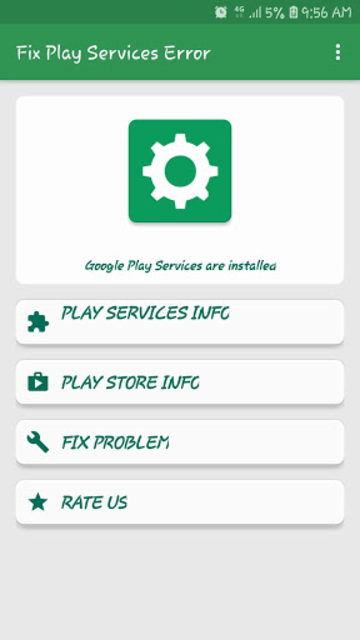 Info of Play Store & Play Services updates & error screenshot 1