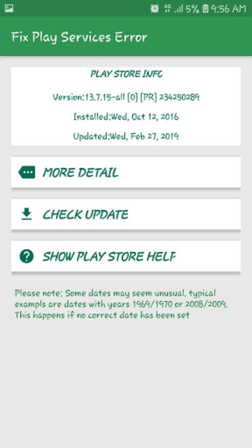 Info of Play Store & Play Services updates & error screenshot 3