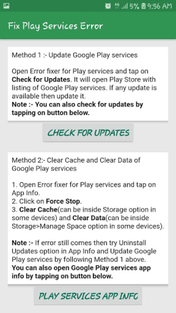 Info of Play Store & Play Services updates & error screenshot 4