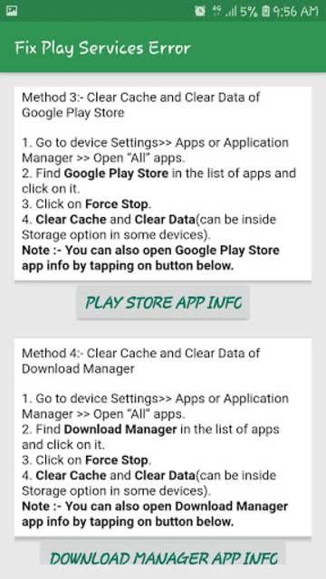 Info of Play Store & Play Services updates & error screenshot 5