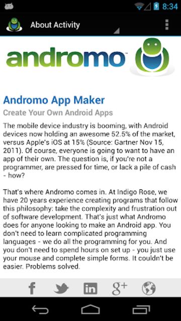 Andromo Sample screenshot 4