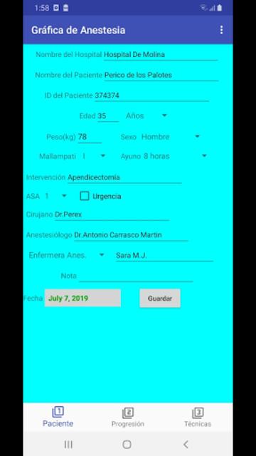 Gráfica de Anestesia screenshot 1