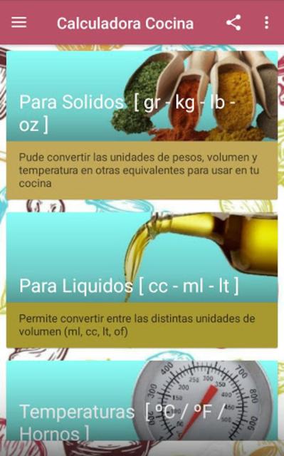 Calculadora de cocina screenshot 2