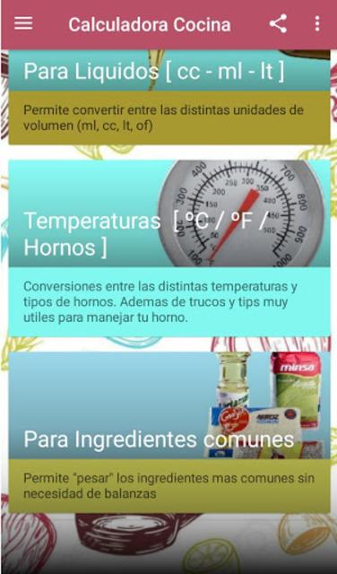 Calculadora de cocina screenshot 3