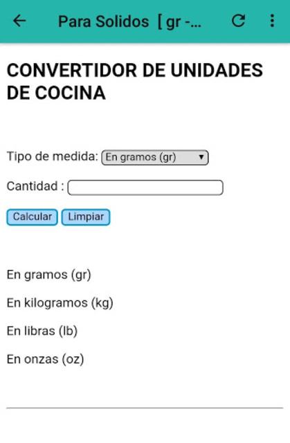 Calculadora de cocina screenshot 4