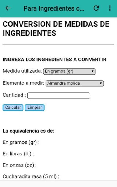 Calculadora de cocina screenshot 7