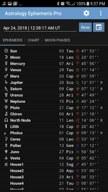 Astrology Ephemeris Pro screenshot 1