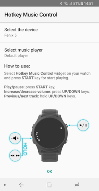 Hotkey Music Control for Garmin Connect IQ Watches screenshot 1