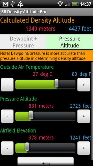 BB Density Altitude Tool Pro screenshot 2
