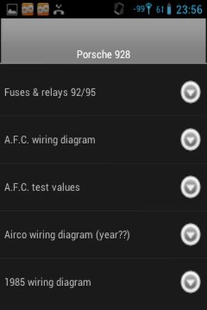 Porsche 928 fuse/relay charts screenshot 2