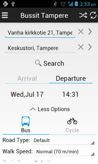 Bussit Tampere Reittiopas Pro screenshot 1