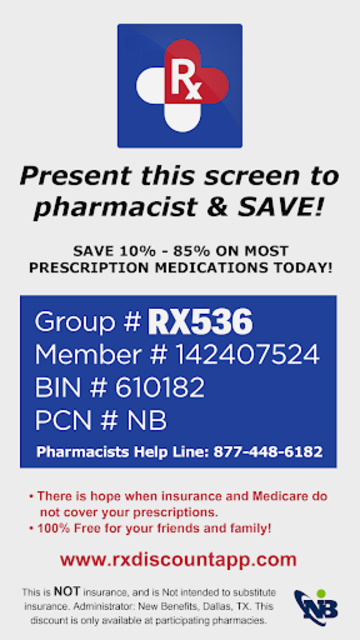Rx Prescription Drug Discounts Card screenshot 1