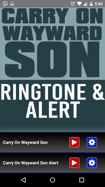 Carry On Wayward Son Ringtone screenshot 1