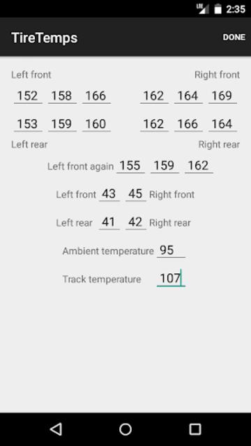 TireTemps screenshot 3