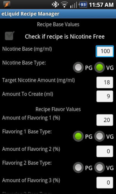eLiquid Recipe Manager Pro screenshot 1
