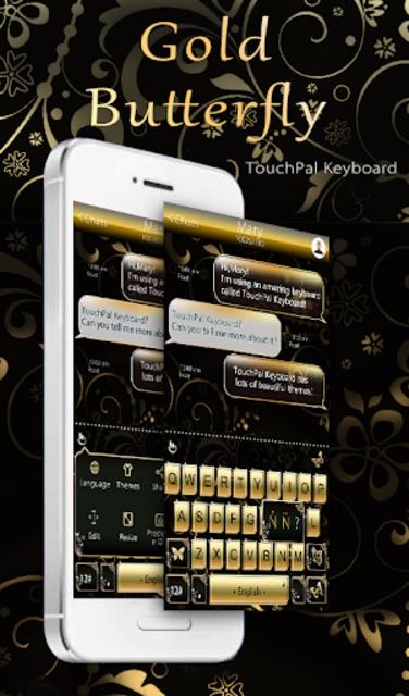 Gold Butterfly Keyboard Theme screenshot 1