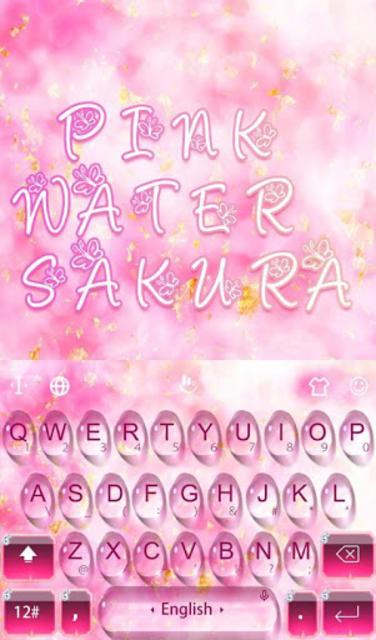Pink Water Sakura Keyboard Theme screenshot 1