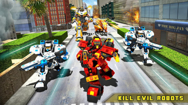Rhino Robot Car transforming games – City battle screenshot 17