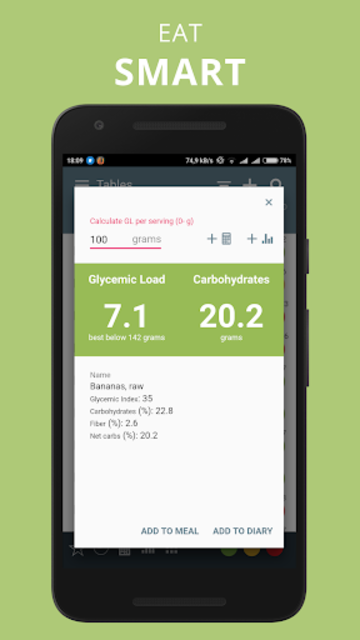 Glycemic Index Load in food net carbs diet tracker screenshot 2