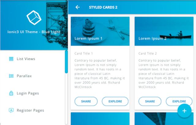 Ionic 3 Material Design UI Template - Blue Light screenshot 9