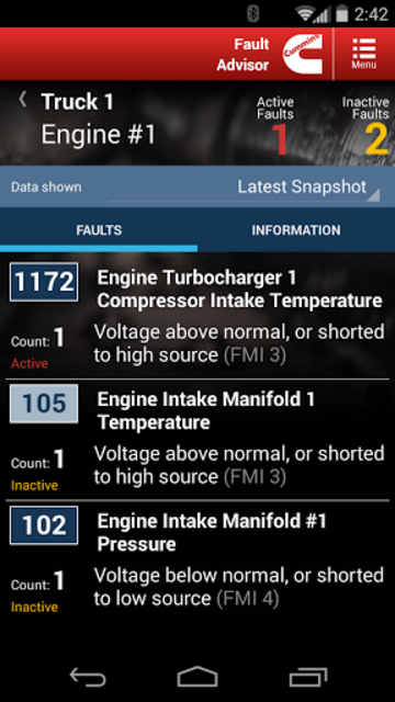 Cummins Fault Code Advisor screenshot 2