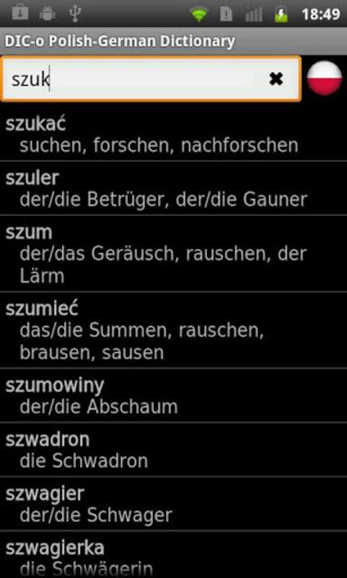 Polish - German offline dict. screenshot 2