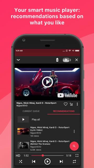 Free music player for YouTube: Stream screenshot 1