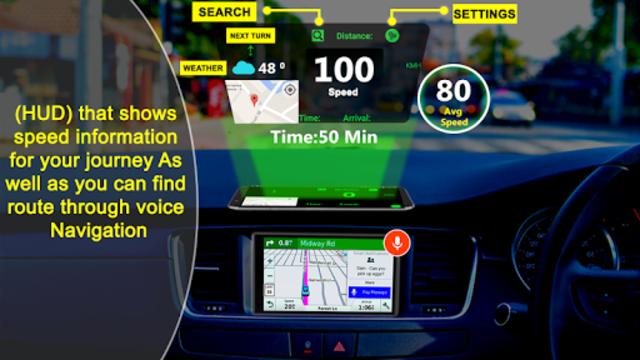 GPS HUD View Speedometer & Street Live Navigation screenshot 1