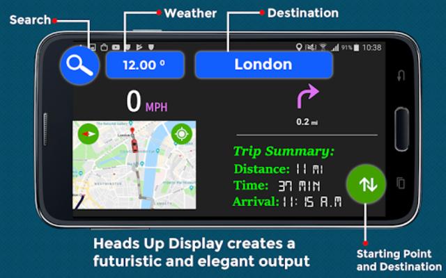 GPS HUD View Speedometer & Street Live Navigation screenshot 3