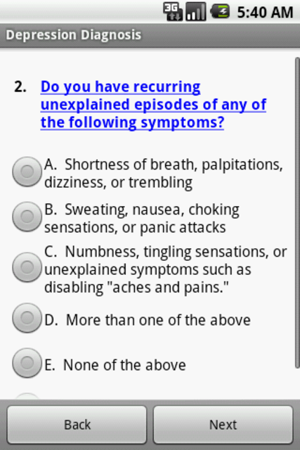 Depression Diagnosis Doctor screenshot 2