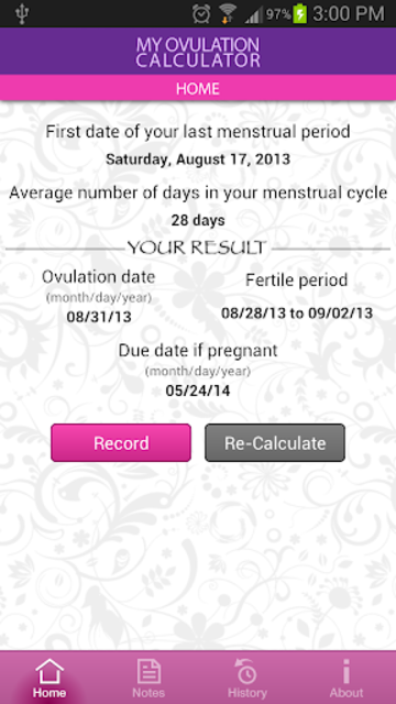 My Ovulation Calculator screenshot 2