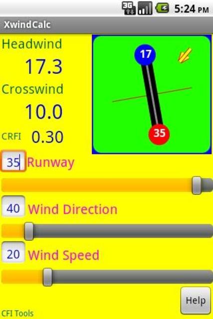 CFI Tools Crosswind Calculator screenshot 1